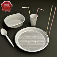 disposable tableware 3d model