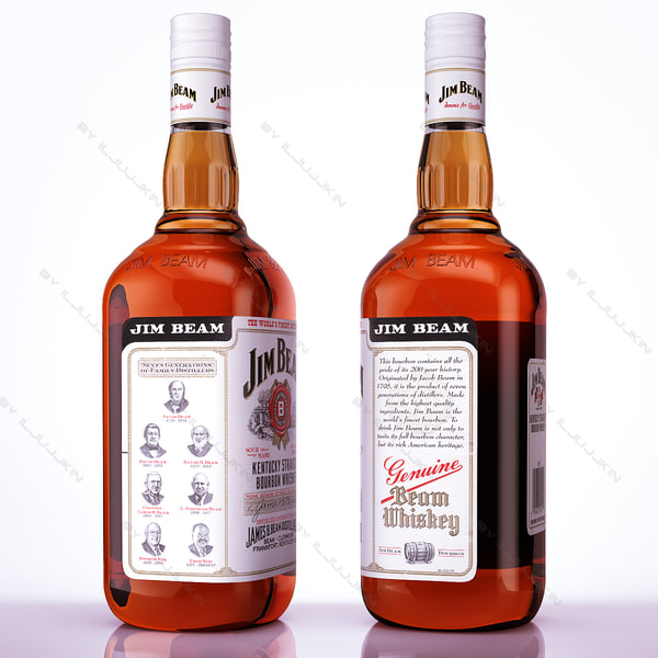 bottle glass jim beam 3d model - Jim Beam Bourbon whiskey... by iljujjkin