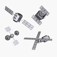 satellites space 3d model