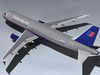 3d airbus a320-232 ua model