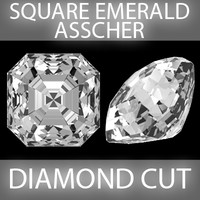 3d square emerald asscher diamond cut model