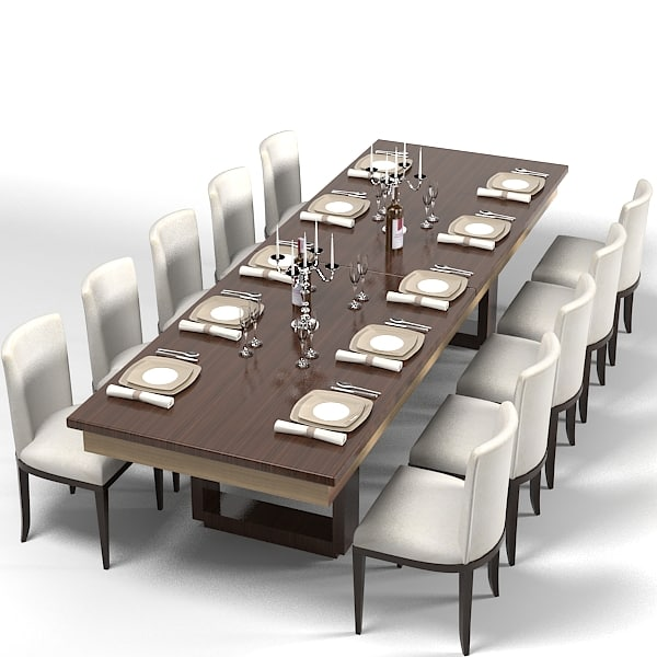Modern dining table 3d model for Modern dining table and chairs set