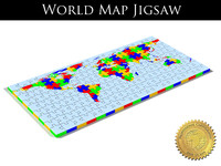 Jigsaw puzzle with world map