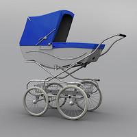 Classic Baby Pram (Light Blue - White)