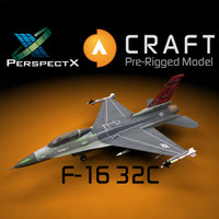 3d model pre-rigged f-16 32c craft