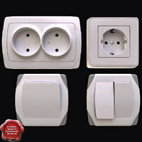 3d model light switches electrical outlets