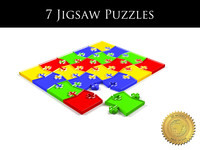 Collection of 7 jigsaw puzzles with different shapes.