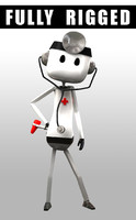 3d lwo animation robot doctor rig