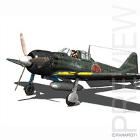cinema4d mitsubishi a6m5 a6m fighter aircraft