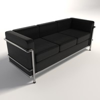 le corbusier lc2 three-seater 3d model