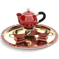 Art deco contemporary porcelain golden tea set