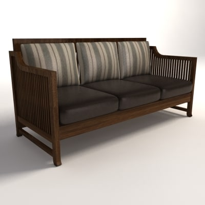 frank lloyd wright oak 3d model - Frank Lloyd Wright Oak Park Sofa... by QueiZeR