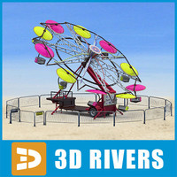 3d umbrella ride paratrooper model