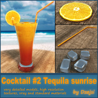 3d model of tequila sunrise cocktail