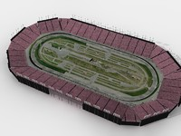 Racetrack with 3d crowd