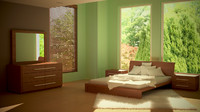 maya modern bedroom interior lighting scene