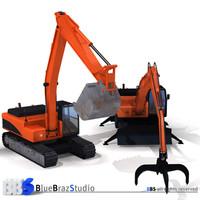 excavator handler demolition 3d model