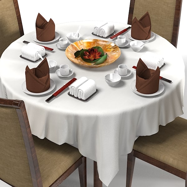 Table In Restaurant : japanese table restaurant 3d model