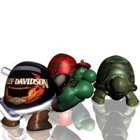3 turtles 3D