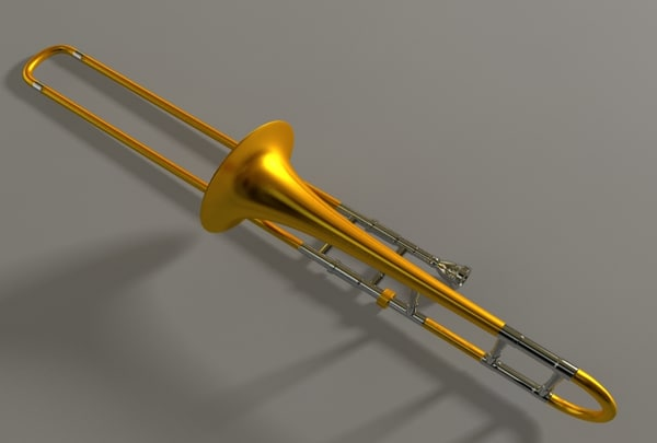 trombone brass 3d model - Brass Trombone... by DAKLOL