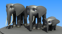 Cartoon African Elephant Family