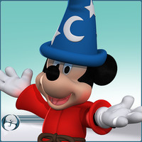 3d cartoon mouse mickey fantasia model