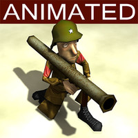 bazooka cartoon soldier 3d model