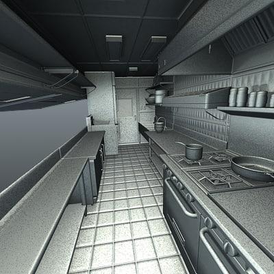 Foodtruck kitchen sink 3d model for Food truck interior design