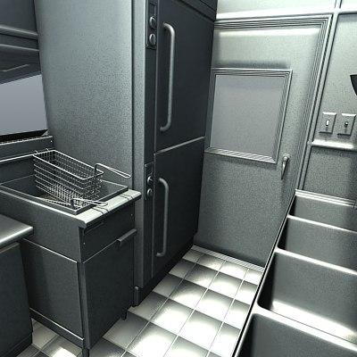 Foodtruck kitchen sink 3d model for Kitchen set rate