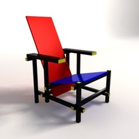 Gerrit Thomas Rietveld Red & Blue Lounge Chair