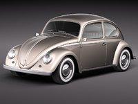 volkswagen beetle 1950 oldtimer 3d max