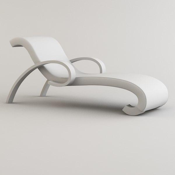 armani borromini chaise longue 3d model. Black Bedroom Furniture Sets. Home Design Ideas