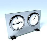Glass Desk Clock with Thermometer