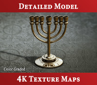 golden lampstand - menorah 3d model