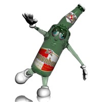 Beer Bottle Cartoon Character