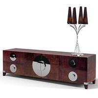 tura art deco sideboard buffet chest table lamp