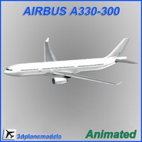 airbus a330-300 aircraft landing 3d model