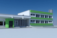 3d business warehouse house model