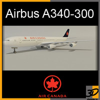 airbus a340-300 canada air 3d model