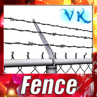 Chain Fence - Barbed Wire _ High detailed.