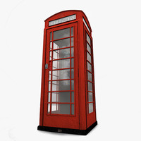 red telephone box english 3d model