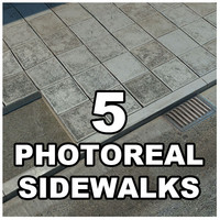 sidewalks tileable 3d model