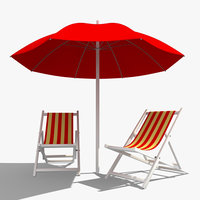 deckchair sun umbrella 3d model
