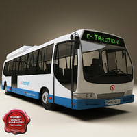 realistic bus e-traction 3d model
