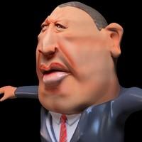 President Hugo Chavez Toon 3D Model