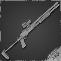 m870 shotgun sopmod 3d model