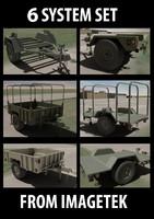 6 military trailer set 3d model
