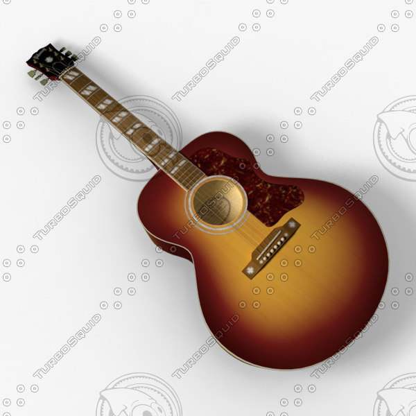 gibson j-185 acoustic guitar 3d model - Gibson J-185 Acoustic Guitar... by robstranges