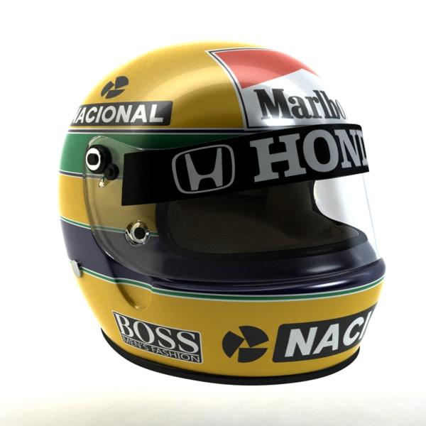 ayrton senna helmet 1988 3d 3ds