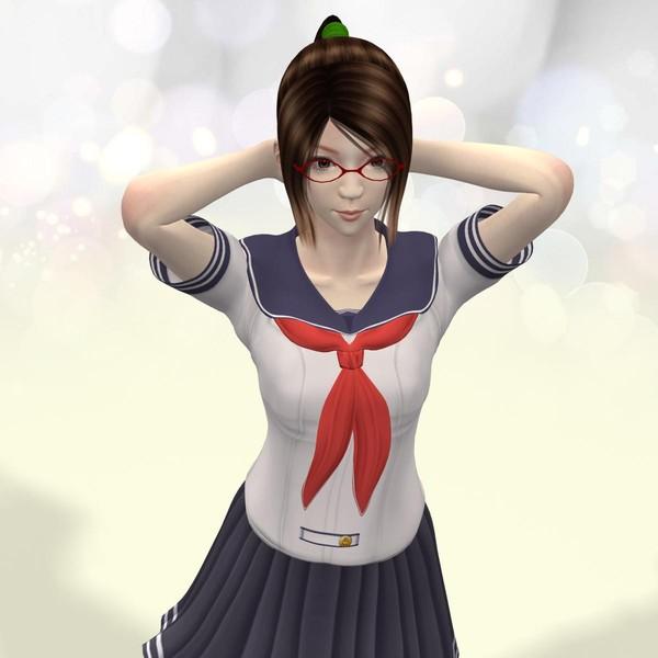 3d posed natsumi school model